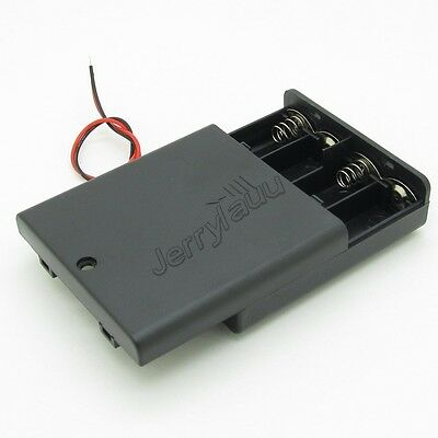 AA 4 Cells Battery Holder Enclosed Box Snap On Connector with Switch and Cover