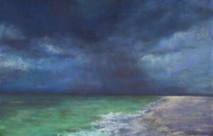 Coastal-Rain-original-pastel-painting-seascape-beach-waves-original-artwork