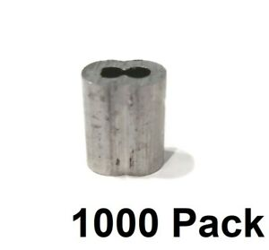 """(1000) 1/8"""" Wire Rope ALUMINUM CABLE CLAMP Double Barrel Snare Swage Connectors"""