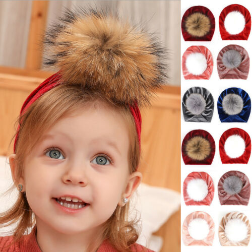 Toddler Baby Girl Boy Turban Velvet Headwrap Fur Pom Hat Beanie Cap Headband UK