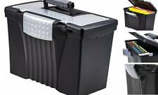 Portable File Box With Organizer Lid 1713 X 963 X 11 Inches Black