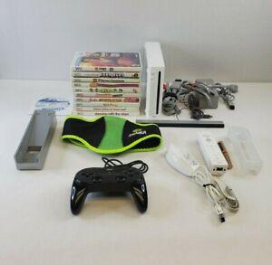 Nintendo Wii Console White RVL-001 Bundle 11 Game LOT Controller Nunchuck EUC