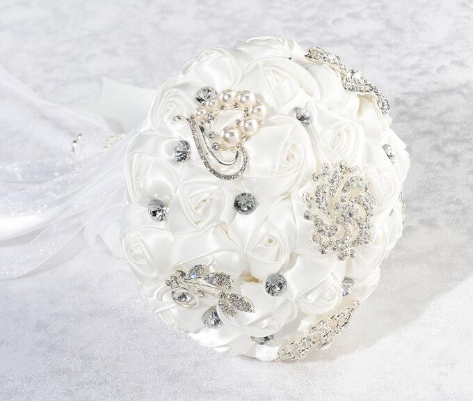 Crystal Flower Bouquet Weiß or Ivory Bridal Bride Wedding Bouquet