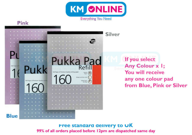 PUKKA Pad Refill A4 160 Pages 80gsm Margin Feint Ruled 4 Holes Writing