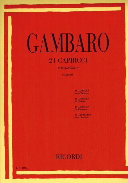 21 Capricci per clarinetto (Giampieri) - Gambaro - Ricordi, 2017