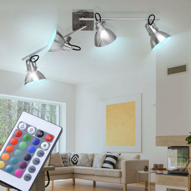 RGB LED Ceiling Spot Light Remote Control Living Room Wood Spot Lamp  Dimmable