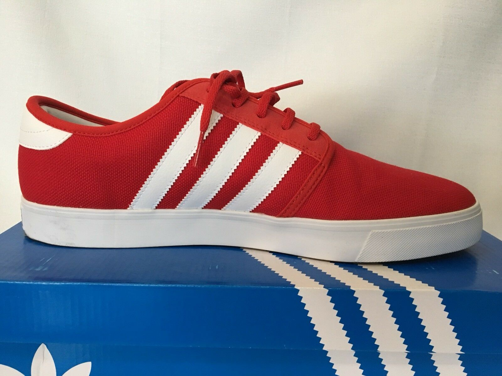 Adidas uomini seeley rosso / bianco con lo skateboard tennis classico scarpe taglia 12