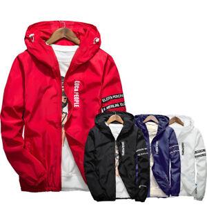 Men-039-s-Casual-Hooded-Coat-Slim-Jacket-Overcoat-Thin-Windbreaker-Hoodie-Zipper-Up
