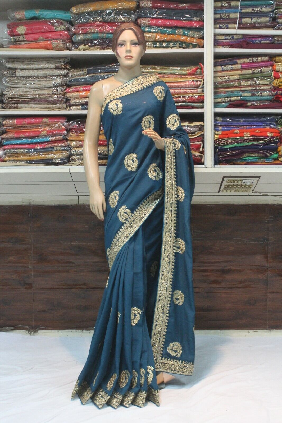 Bollywood Paisley Pattern Raw Silk Blue Saree Indian Designer Sari Party Dress