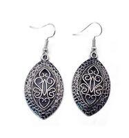 Bohemian Fashion Popular Vintage Silver Hollow Carving Flower Dangle Earrings