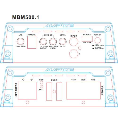 3. generación Class D 1x 500 vatios Ampire etapa final mbm500.1-3g mono amplificador