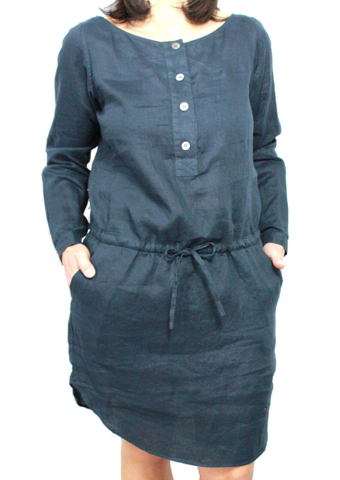 Aspesi Robe Femme Modèle H606 Bleu 100% Lin