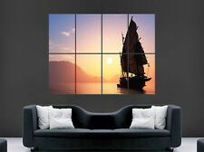 SAIL BOAT PIRATE SHIP POSTER SUN SEA ROCKS WALL LARGE IMAGE GIANT