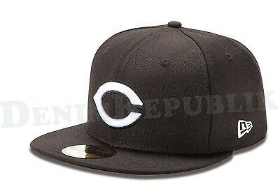 New Era 59FIFTY CINCINNATI REDS Black & White Cap MLB Baseball Fitted 5950 Hat