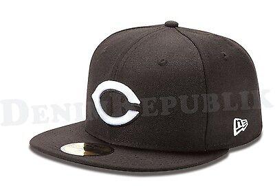 New Era 59FIFTY CINCINNATI REDS Black & White Cap MLB Baseball Fitted 5950 Hat