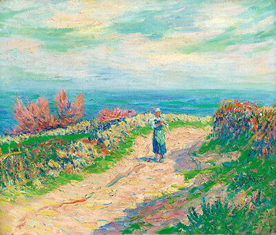 Beautiful Oil painting impressionism landscape with walkers in summer season