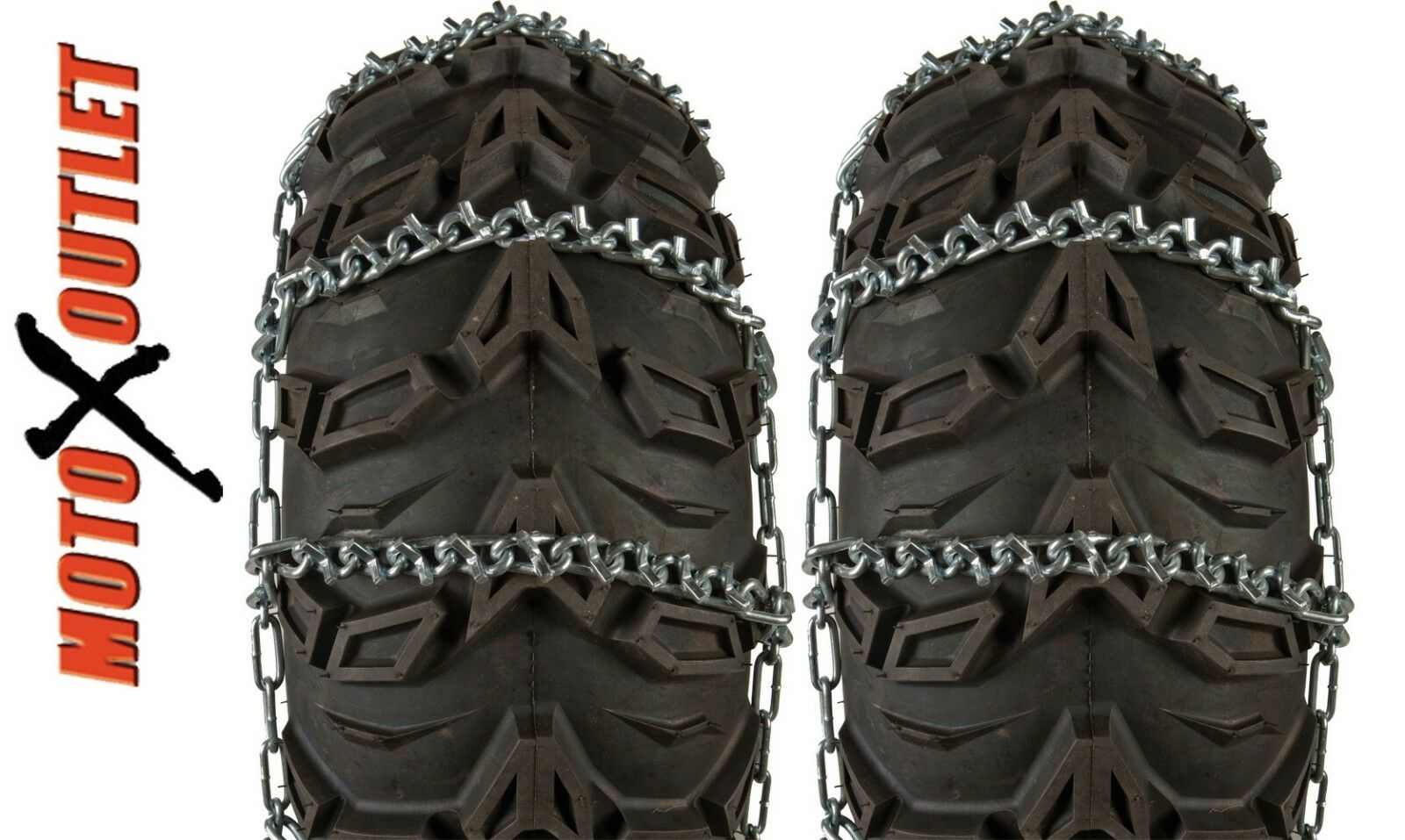 SIZE B ATV TIRE SNOW ICE CHAINS 9 V BAR 25X8-12 25X8X12 25 8 12 FRONT TIRES