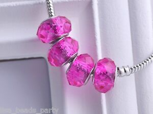 10pcs-15x9mm-Lampwork-Glass-Faceted-European-Charm-Loose-Big-Hole-Beads-Rose-Red
