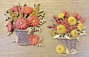 Vintage-Rare-Lot-of-TWO-Burwood-USA-Flower-Basket-Kitsch-Kitsch-Wall-Hanging