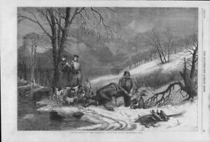 1863 Antique Print - CANADA New Brunswick Caribou Hunting Horses Ice Dogs (150)