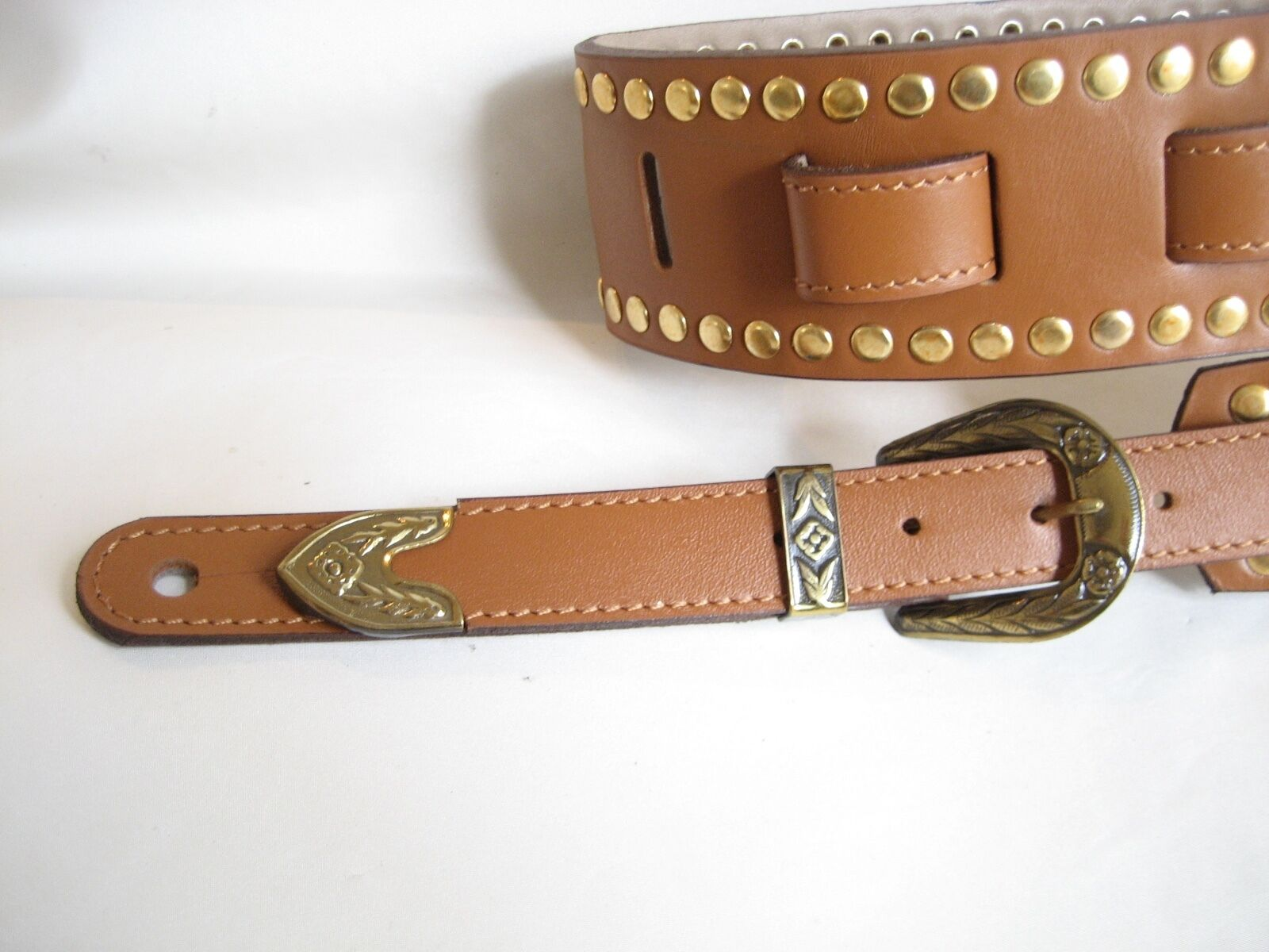 TAN LEATHER STUDDED Gold CONCHO GUITAR STRAP