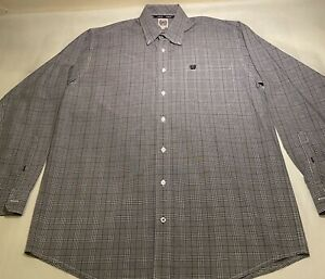 Cinch-Sz-M-Grey-Plaid-100-Cotton-L-S-Button-Down-Casual-Shirt