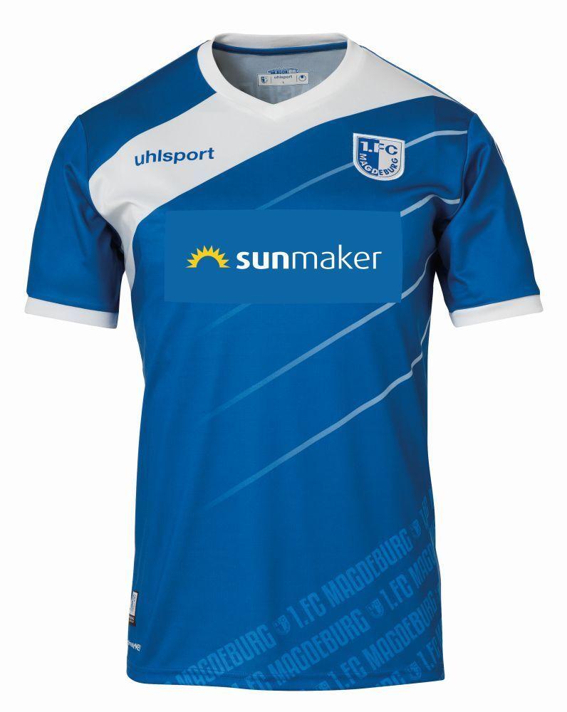 Uhlsport 1. FC Magdeburg FCM Heimtrikot 2018 2019 Home Trikot Herren blau weiß  | Lebensecht