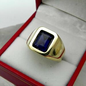 2-28Ct-Emerald-Cut-Sapphire-Mens-Solitaire-Ring-14K-Yellow-Gold-Finish