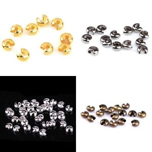 200pcs-3-4-5mm-Silver-Gold-Plated-Crimp-Beads-Knot-Covers-Jewelry-Making