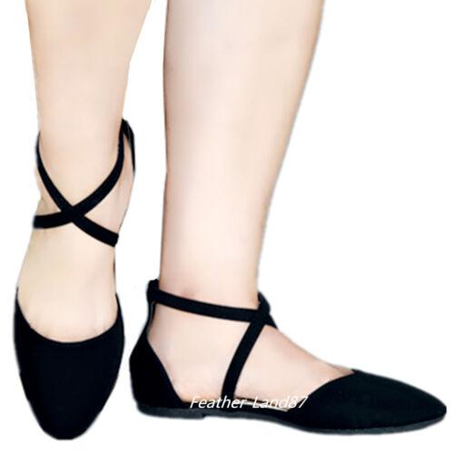 Nouveau Femmes Mode Cheville Sangle Casual Criss Cross Ballerines Chaussures