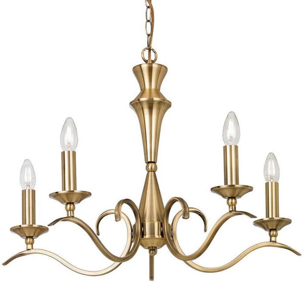 Hanging Flush Ceiling Pendant –5 Light ANTIQUE BRASS Chandelier–Lamp Bulb Holder