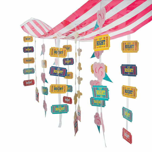 CARNIVAL Circus Big Top Tent Party Decoration Dangling STRIPED CEILING COVER