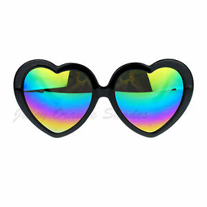 13f927b4fef Image is loading Womens-Oversized-Love-Heart-Sunglasses-Rainbow-Mirror-Lens