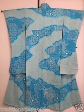 Vintage Japanese Silk Kimono Dress FURISODE, All Shibori, Mum, Light Blue K817