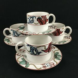 Set-of-4-VTG-Cups-and-Saucers-Sakura-Laredo-Western-Hat-Boot-Bandana-Cowboy