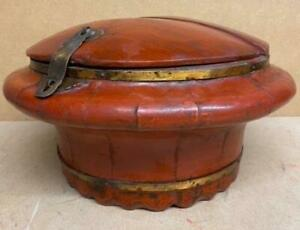 Antique-Vintage-Oriental-Chinese-Oriental-Box-Wood-amp-Brass-Painted