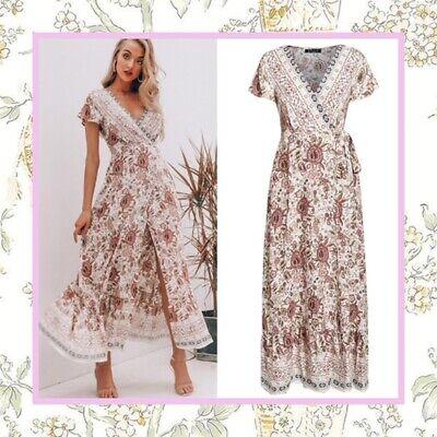 Women Boho Gypsy Hippie Long Maxi Dress Summer Holiday Party Beach Casual Dress