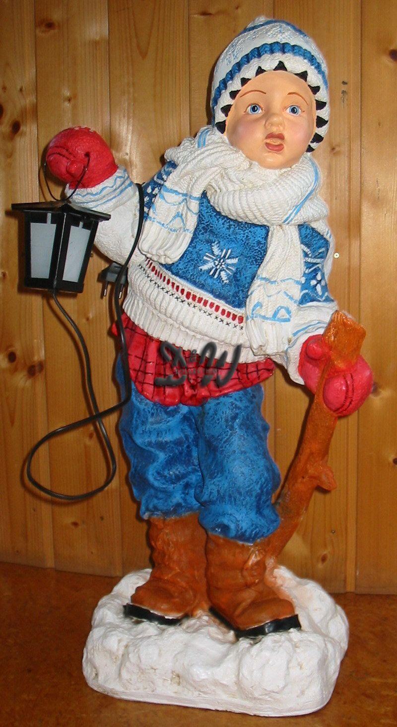 WINTERKIND Junge mit Laterne Garten DEKO Figur WINTER Dekoration  Weihnachten