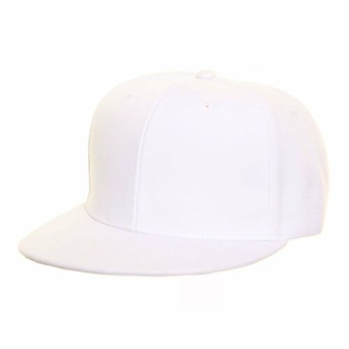 Plain White Snapback Flat Peak Baseball Cap