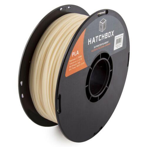 HATCHBOX PLA 1.75 mm 3D Printer Filament in Glow in the Dark Orange, 1kg Spool
