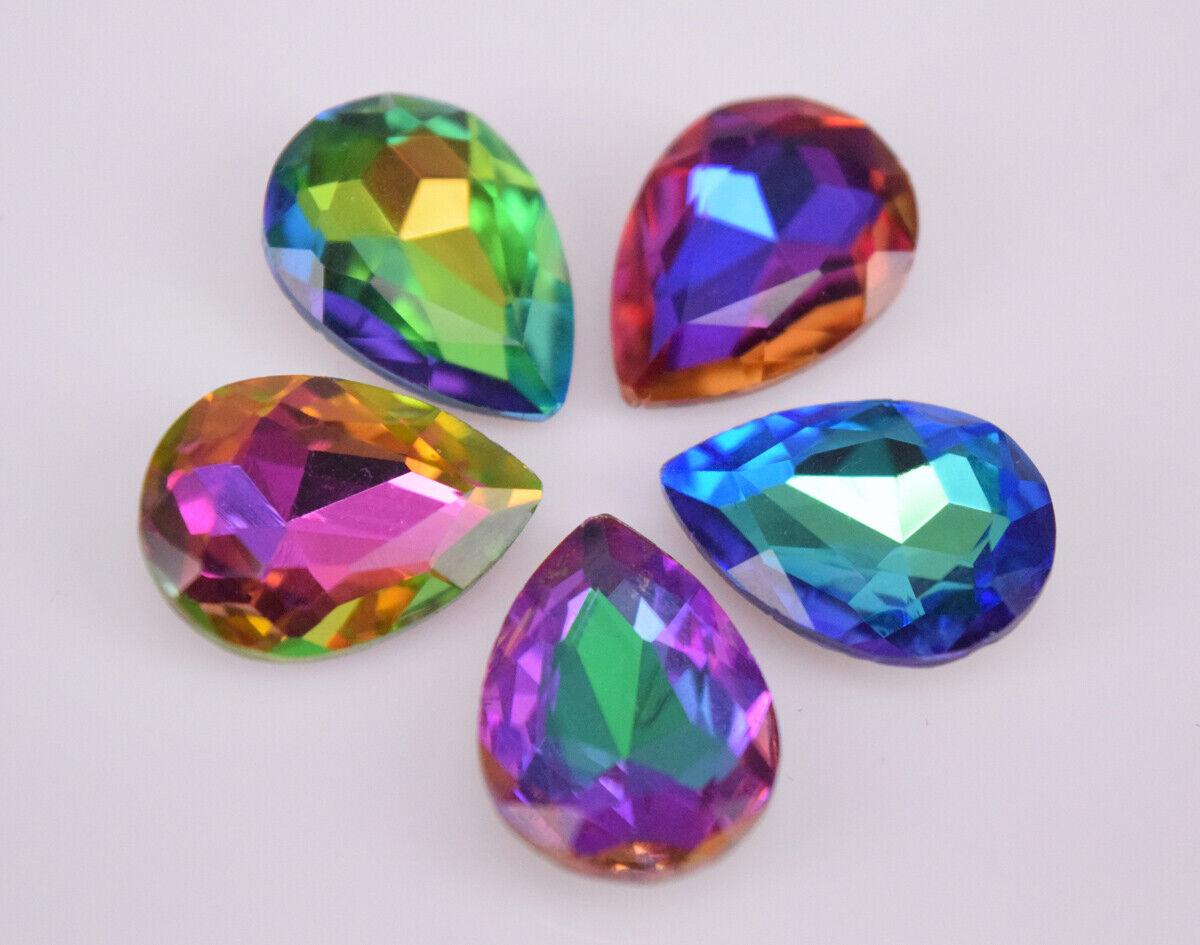 36pcs 13x18mm rectangle point back rhinestone cabochon crystal glass DIY supplie