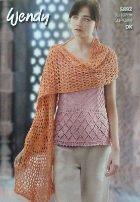 KNITTING PATTERN Ladies Sleeveless Vest and Lace Wrap Cotton DK Wendy 5892