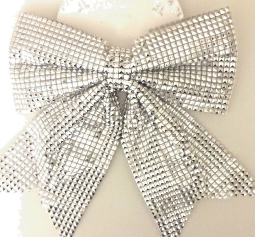 GIANT XMAS TREE TOPPER BOW DECORATION//2 LARGE SPARKLING SILVER GLITTER BOW BLING