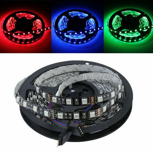 PCB Black 5050 SMD 5M 300 RGB Led Strip  Non-Waterproof home Garden Lighting