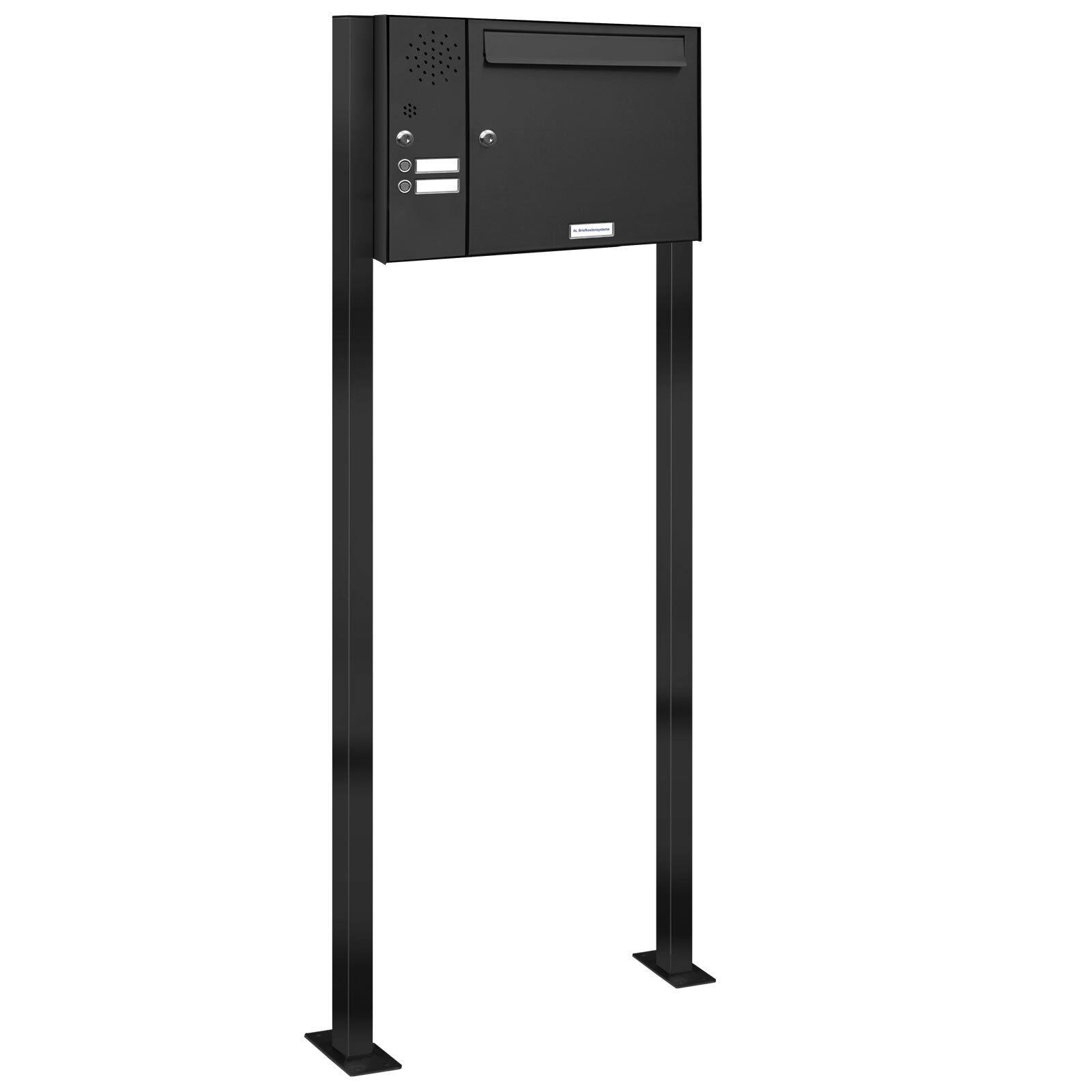 1er Premium Stand Briefkasten Anthrazit mit 2 Klingel 1 Fach Postkasten RAL 7016