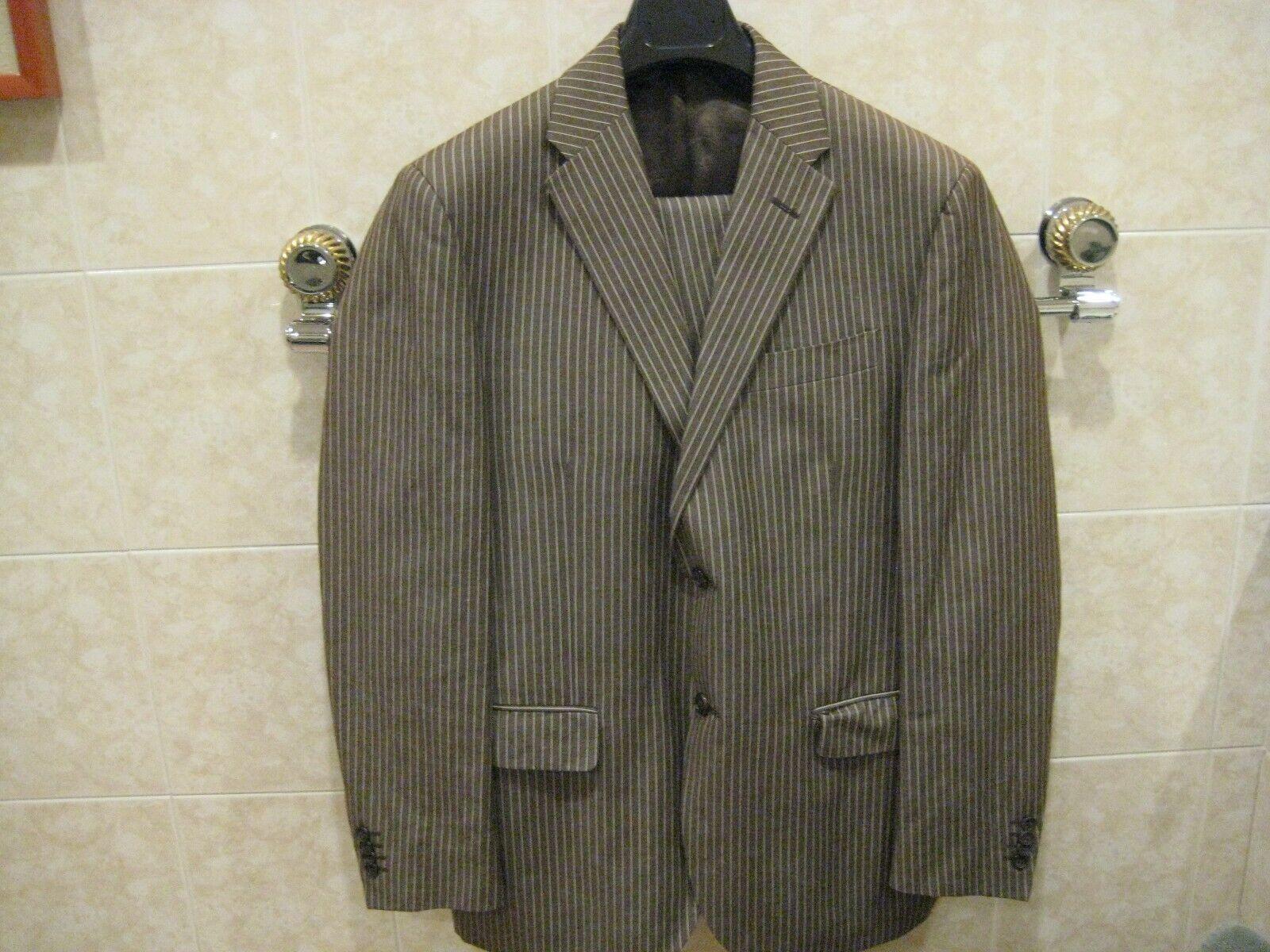 Nino Danieli by Corneliani cotton linen brown pinstriped suit size 50R USA 40