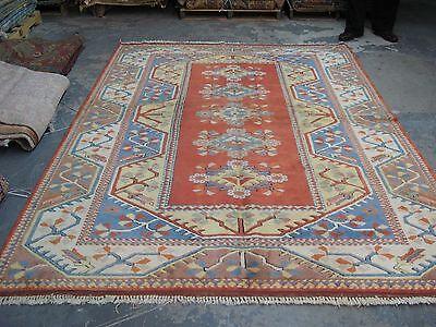 Adaptable Vintage Turkish Armenian Milas Kazak Hand Knotted Wool Oriental Rug 6'6 X 9'1 Antiques