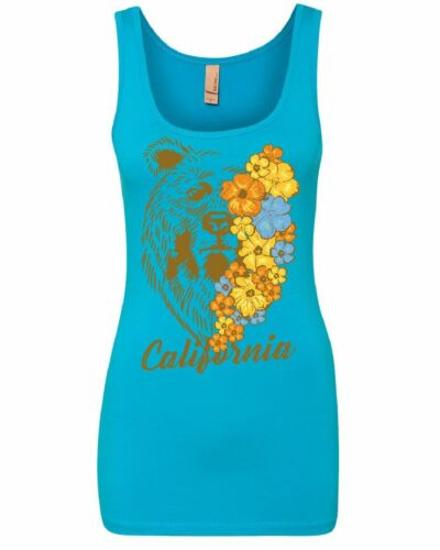California Bear with Flowers Women/'s Tank Top Wildlife Grizzly Cali Ca Top