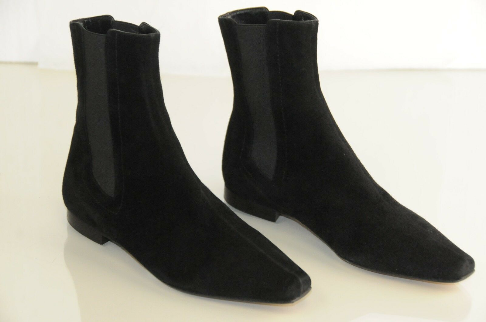 NEW MANOLO BLAHNIK Flat Ankle Stiefel schwarz Suede Flats Stiefelies schuhe 35.5