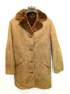 Vintage-English-Lady-M-14-Brown-Suede-Shearling-Coat-Parka-Western-Sheepskin